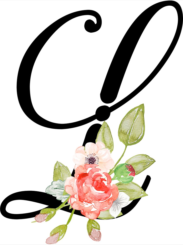 """Floral Monogram Fancy Script Letter L"" Sticker by ..."