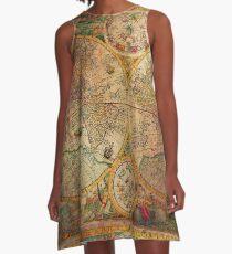 Globus Karte der alten Welt A-Linien Kleid