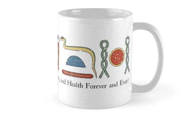 Ancient Egyptian Life Prosperity Health Blessing Hieroglyphic + Translation Mug on White by PyramidPrintWrx