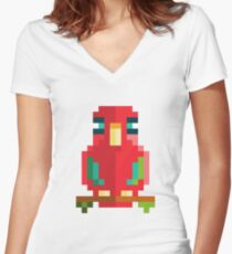 Scarlet Macaw Pixel Art Women's Fitted V-Neck T-Shirt