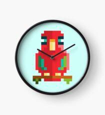 Scarlet Macaw Pixel Art Clock