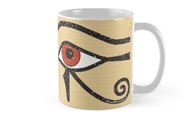 Eye of Horus Ancient Egyptian Symbol of Protection Mug on Papyrus by PyramidPrintWrx