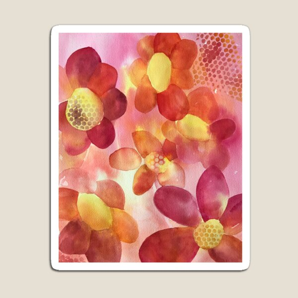 Pink & Yellow Floral Watercolor Magnet