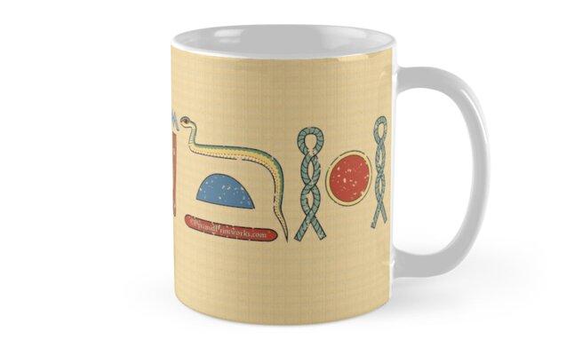 Ancient Egyptian Life Prosperity Health Blessing Hieroglyphic Mug on Papyrus by PyramidPrintWrx