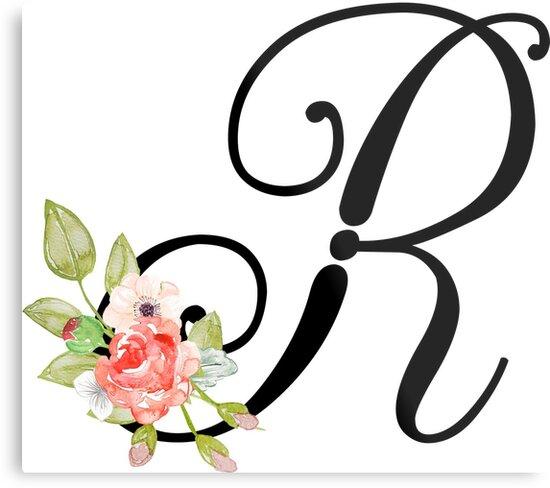 floral monogram fancy script letter r by grafixmom