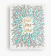 Whatever Will Be, Will Be (Turquoise & Gold) Metal Print