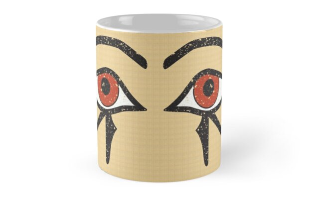 Double Eye of Horus Ancient Egyptian Symbol of Protection Mug on Papyrus by PyramidPrintWrx