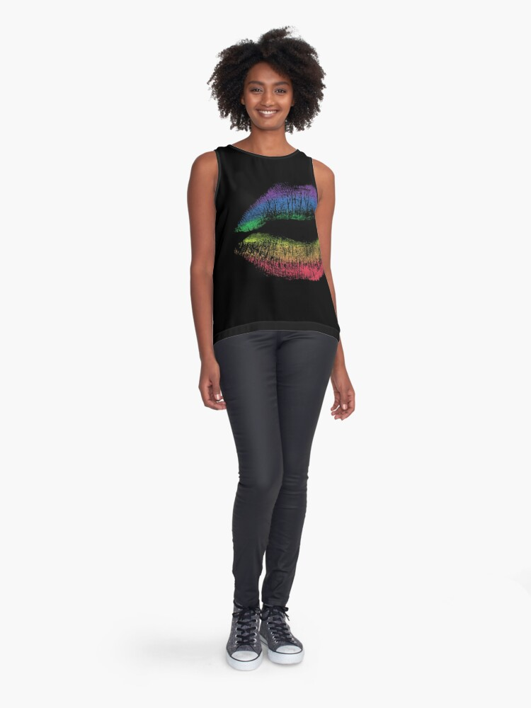 Alternate view of Rainbow Pride Kiss // LGBT Gay Rights Flag Lips Sleeveless Top