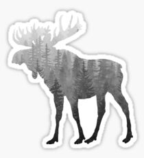 Misty Forest Moose - Black & White Sticker
