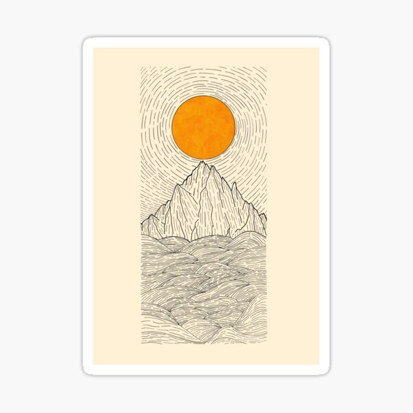 The sun over the mountain waves Sticker