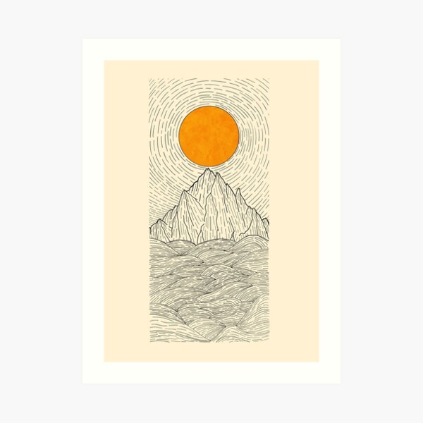 The sun over the mountain waves Art Print