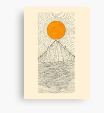 The sun over the mountain waves Canvas Print