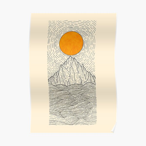 The sun over the mountain waves Poster