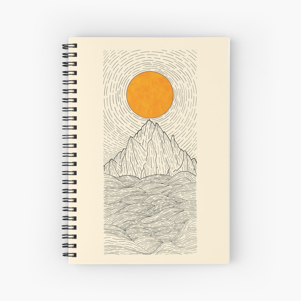 The sun over the mountain waves Spiral Notebook