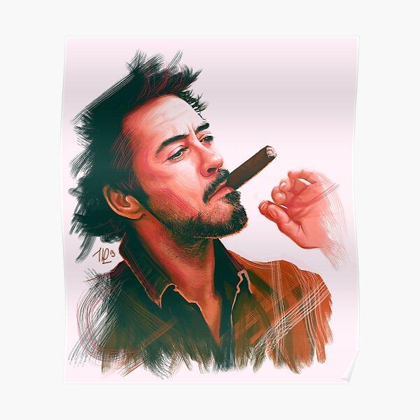 Robert Downey Jr. with cigar, digital painting  Poster
