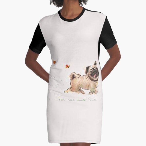 The Furminator Pug Watercolor Design in Beige Color Graphic T-Shirt Dress