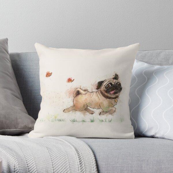 The Furminator Pug Watercolor Design in Beige Color Throw Pillow