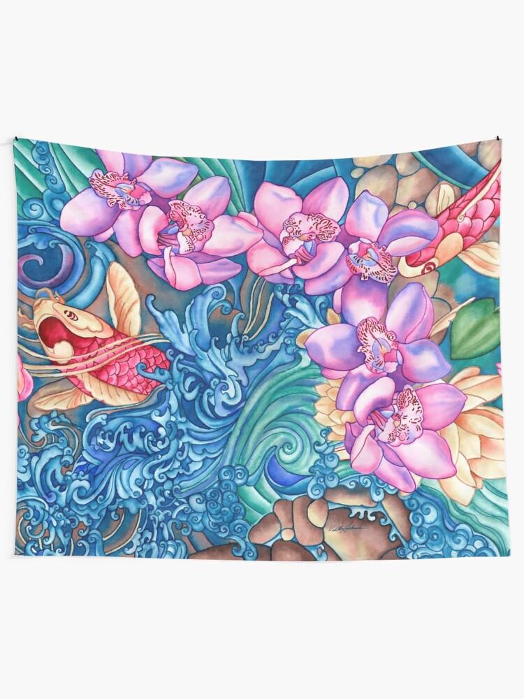 Alternate view of Orchid Splash Tapestry