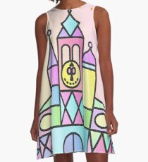 It's a Small World After All Colourful Castle A-Line Dress