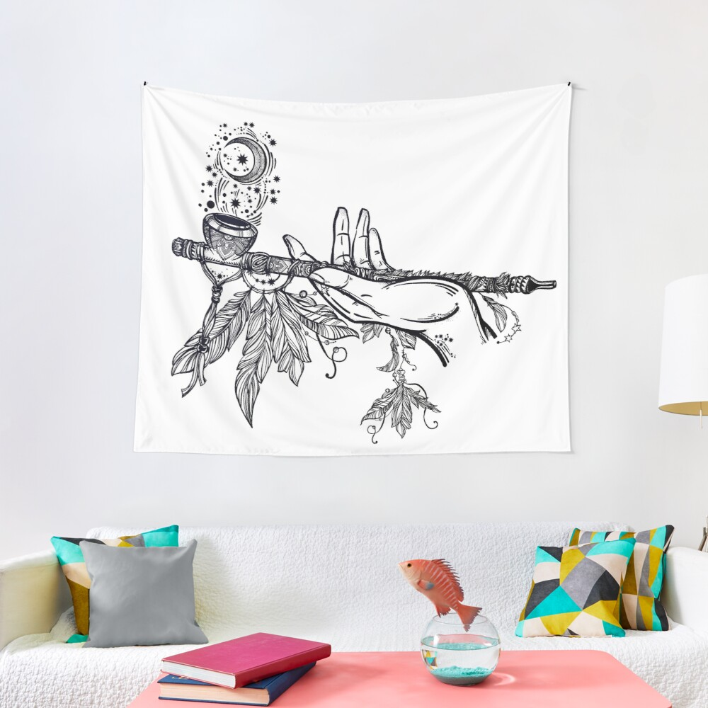 Peace Pipe Offering // Native American Art Tapestry