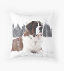 St. Bernard enjoying the winter Throw Pillow