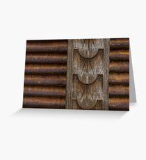 Harmonious Interplay - Rusty Metal Corduroy and Weathered Wood  Greeting Card