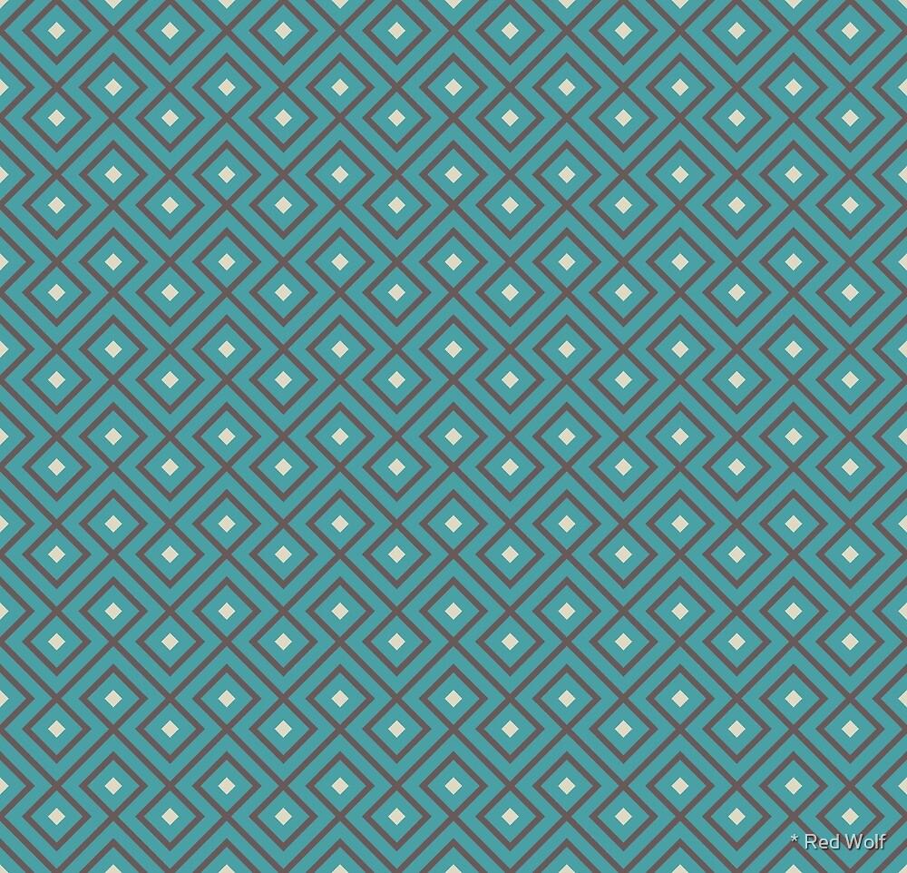 Geometric Pattern: Loop Diamond: Blue/Brown by * Red Wolf