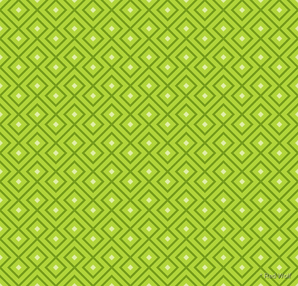 Geometric Pattern: Loop Diamond: Green by * Red Wolf