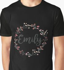 Emily | First Name in Pink Flower Wreath Graphic T-Shirt