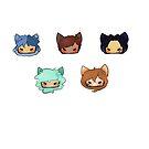 Sticker Pack : Wolf Pack by HootzDrawz