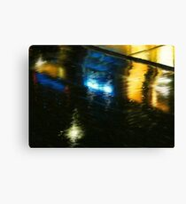 Wet City Lights Canvas Print