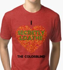 Ishihara Colorblind Test: I Heart the Colorblind (US spelling) Tri-blend T-Shirt