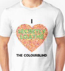 Ishihara Colourblind Test: I Heart the Colourblind (AU/UK spelling) Unisex T-Shirt