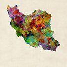 Iran Watercolor Map by Michael Tompsett