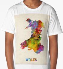 Wales Watercolor Map Long T-Shirt