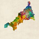 Cornwall England Watercolor Map by Michael Tompsett
