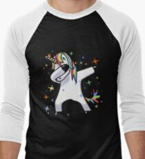 Dabbing Unicorn - Dance, Rainbows, Magic, Stars, Fluffy Fun! Men's Baseball ¾ T-Shirt