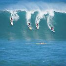 Waimea Bay Coed Surfing by kevin smith  skystudiohawaii