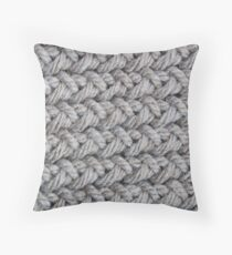 Hip grey sweater texture chunky knit Throw Pillow