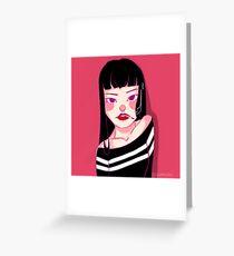 GIRL SMOKE Greeting Card