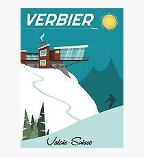 Verbier Ski poster Photographic Print