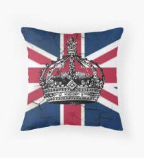 British union jack flag jubilee vintage crown  Throw Pillow