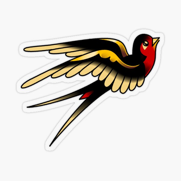 American Traditional Swallow Transparent Sticker