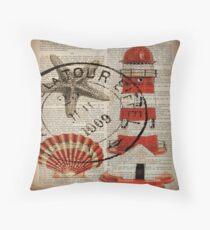 shabby chic vintage sea shells nautical lighthouse  Throw Pillow