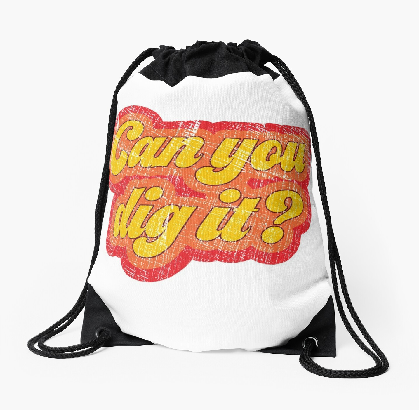 vintage 1970s can you dig it drawstring bags by webdango redbubble 80s House Decor vintage 1970s can you dig it