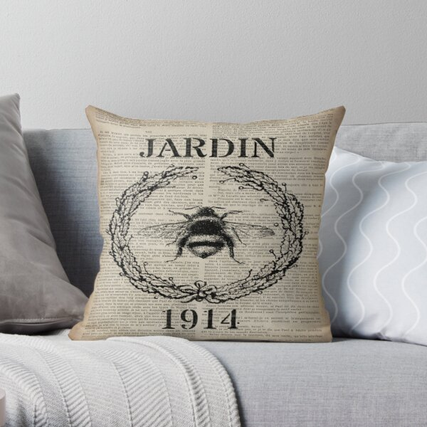 newspaper print french country paris vintage bee Throw Pillow