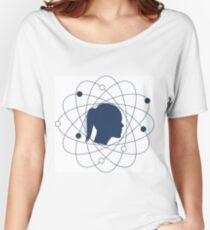 Illustration of atomic structure and women head. Women's Relaxed Fit T-Shirt