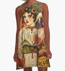 KAPELLE TATTOO; Vintage Body Werbung Kunst A-Linien Kleid