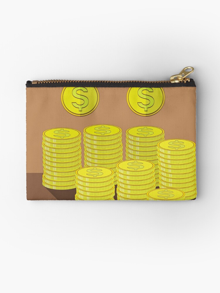 'Gold Coins Icon  Cash Money Concept on Brown Background' Studio Pouch by  valeo5