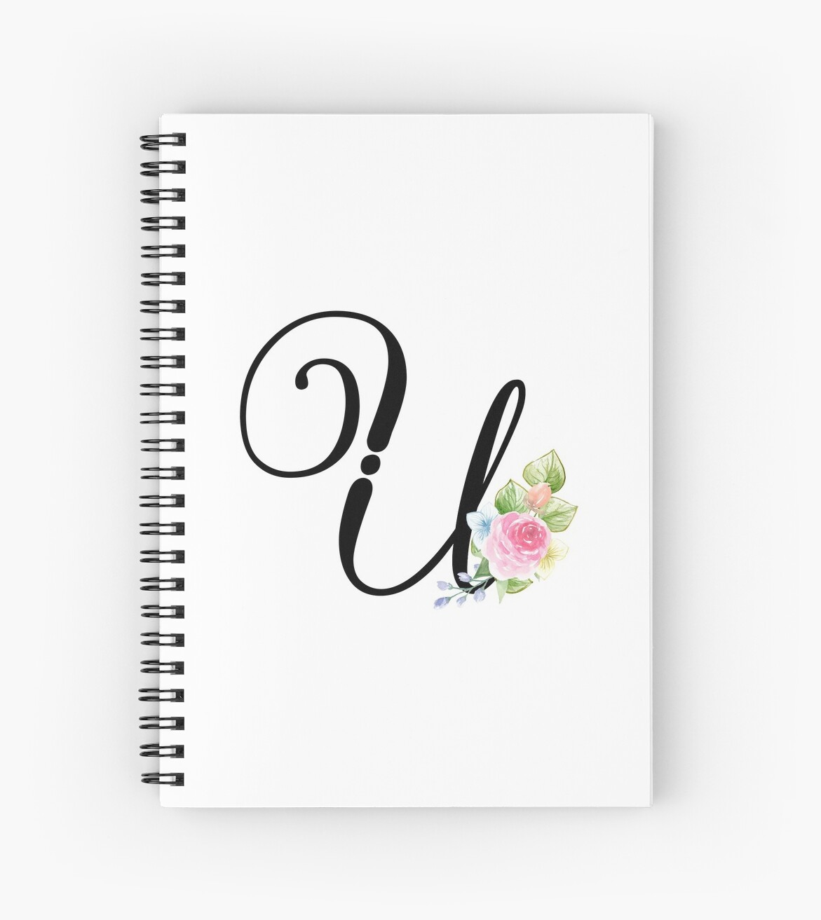 floral monogram fancy script letter u spiral notebooks by grafixmom